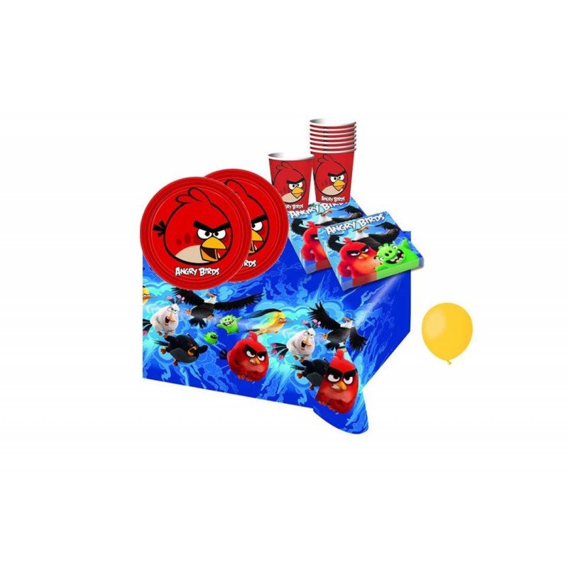KIT N 8 COORDINATO ANGRY BIRDS SET COMPLEANNO CON PALLONCINI