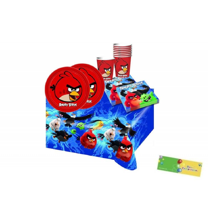 KIT 16 - 105 PZ. COORDINATO COMPLEANNO ANGRY BIRDS