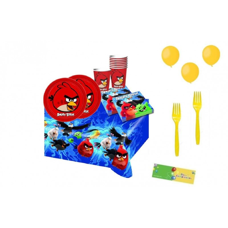 KIT 6 - 205 PZ. ANGRY BIRDS + FORCHETTE E PALLONCINI GIALLI