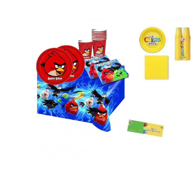 KIT 7 - 213 PZ. ANGRY BIRDS + MONOCOLORE GIALLO