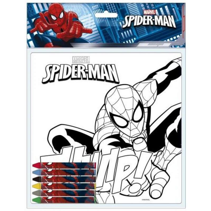 Tela Da Colorare Spiderman Disegno Uomo Ragno Con Pastelli A Cera