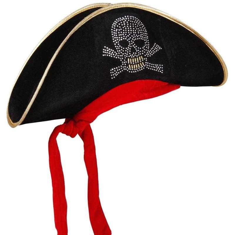 prezzi economici pensieri su nuovo stile Cappello da pirata di velluto com teschio
