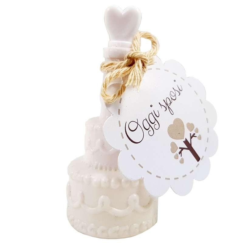 BOLLE DI SAPONE TORTA DI MATRIMONIO CON ETICHETTE FIORE - GADGET WEDDING