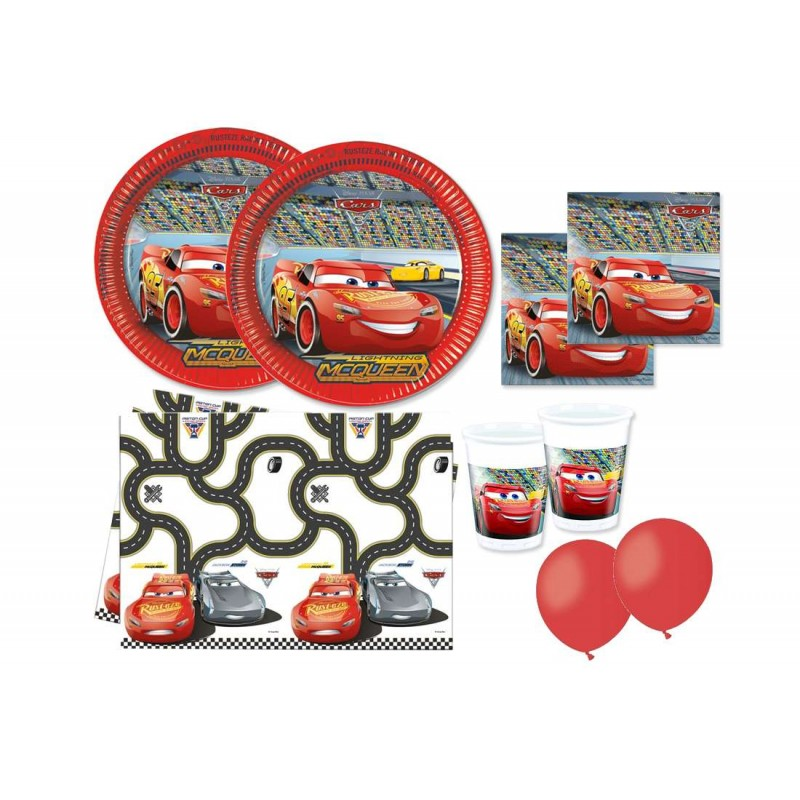 KIT N 8 COMPLEANNO CARS PIU 100 PALLONCINI