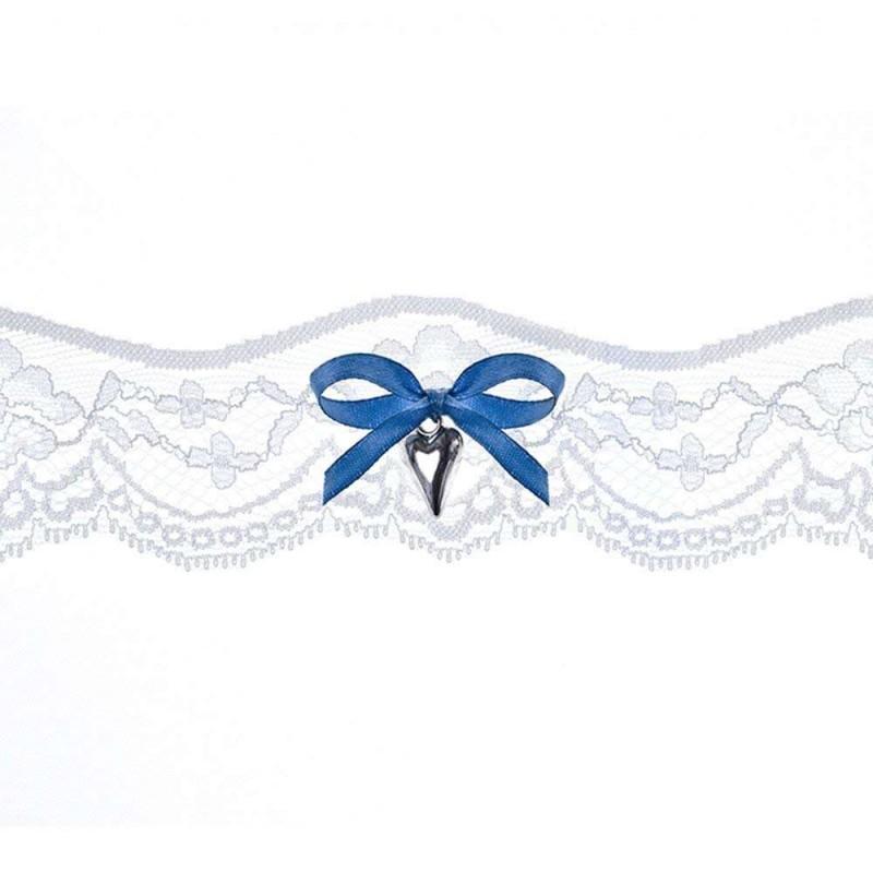 promo code 1aa71 6e576 Giarrettiera bianca in pizzo con fiocco blu e cuoricino