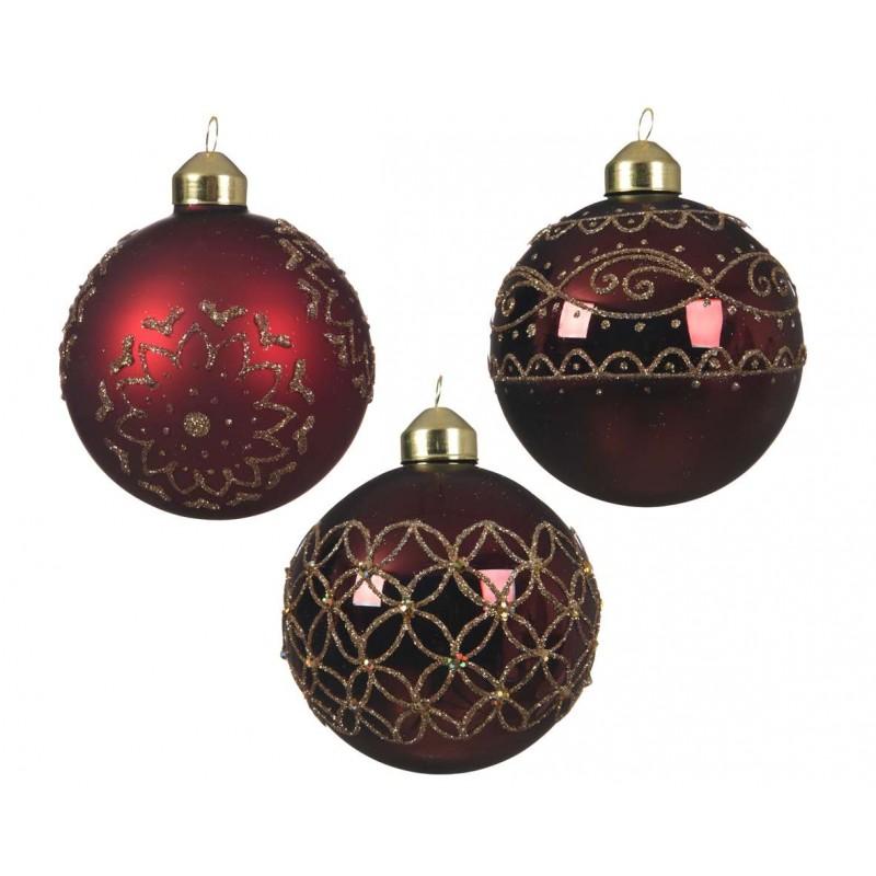 Palline natalizie rosse di vetro con decorazioni oro - 6 pz