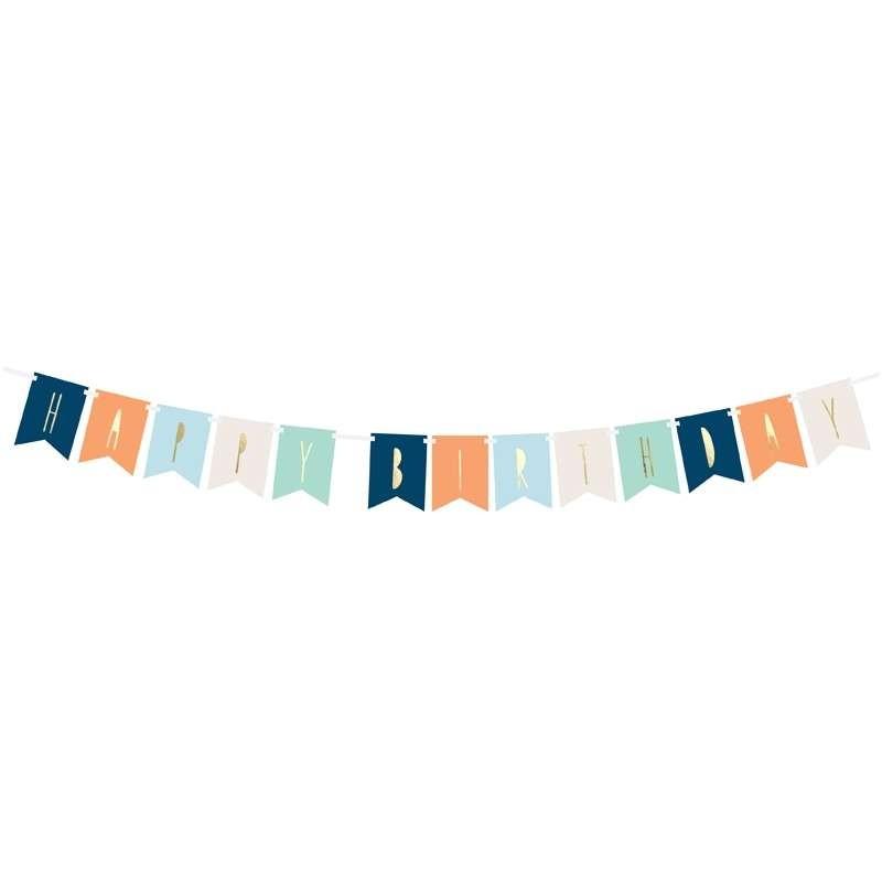 GHIRLANDA HAPPY BIRTHDAY MIX COLORI – BLU ARANCIONE CELESTE BIANCO E VERDE ACQUA