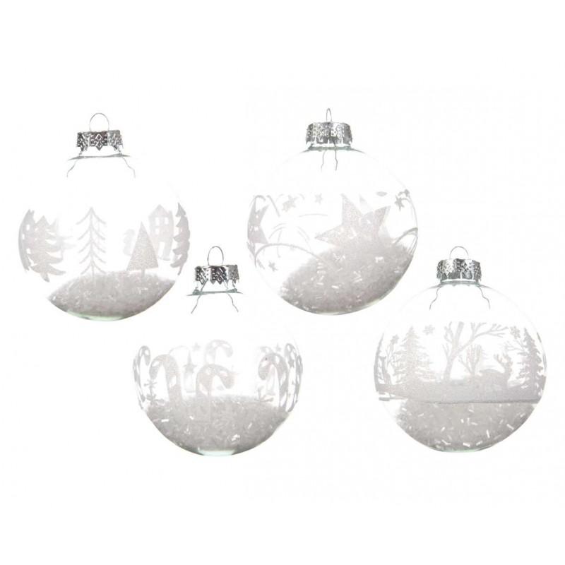 Palline in vetro trasparenti con fiocchi di neve dentro for Lampadario palline vetro