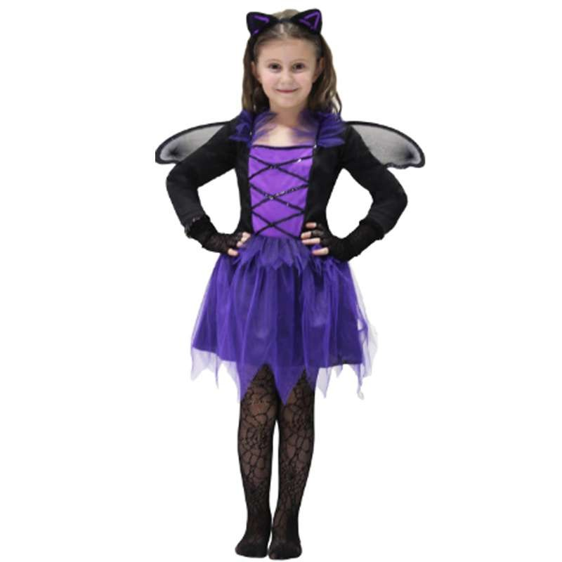 Ragazze Halloween colorate Luminose STREGHE Collant Dolcetto o Scherzetto Strega Costume