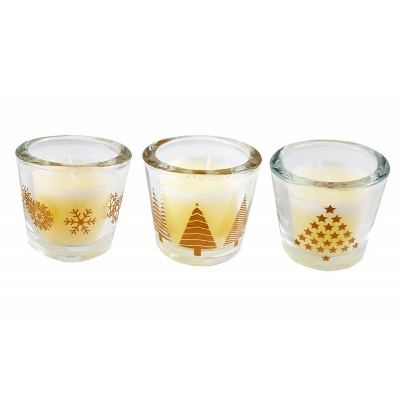 Bicchieri Con Decorazioni Natalizie.Candele In Vasetti Di Vetro Bicchiere Con Decorazioni Natalizie 3 Pz