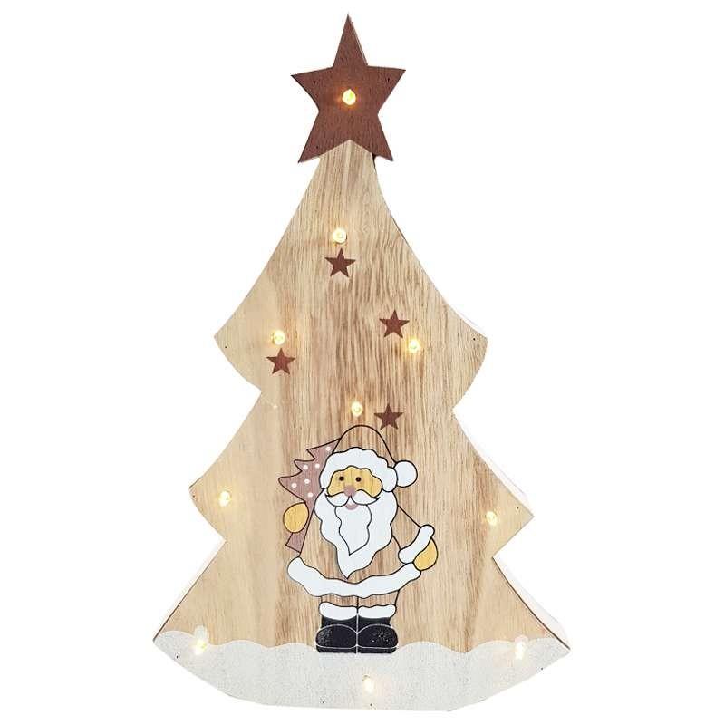 Albero Di Natale In Legno.Albero In Legno Con Babbo Natale Mini Luci Led