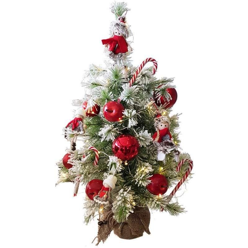 Natale Addobbi.Albero Di Natale Medio Completo Di Addobbi Palline Luci E Decorazioni