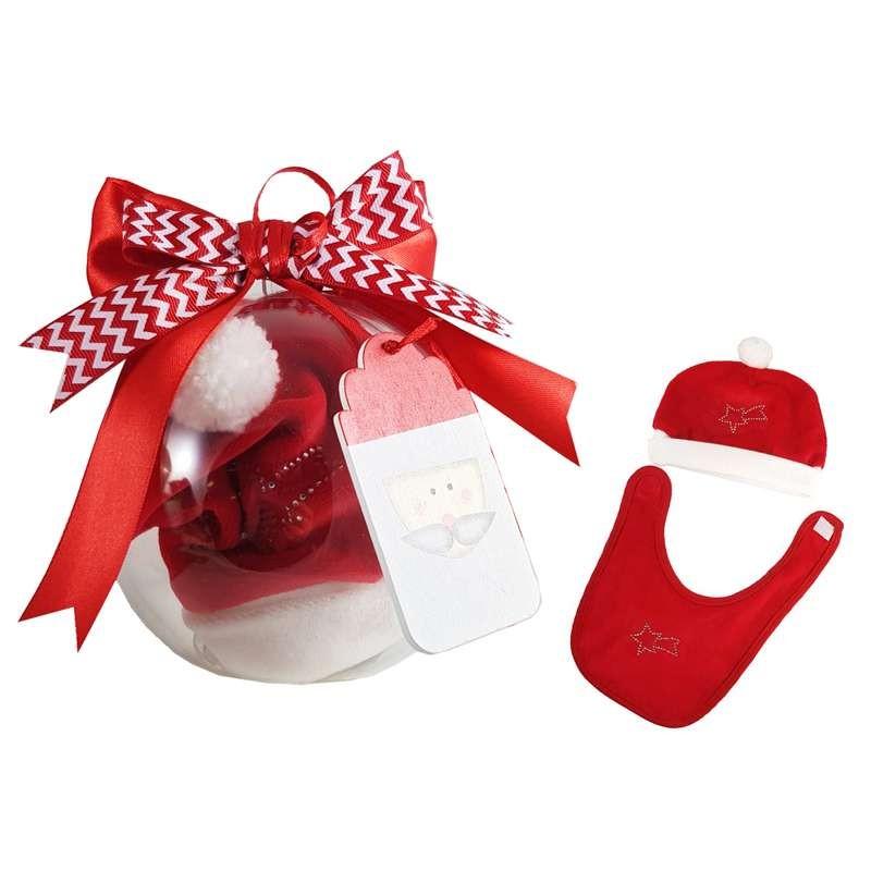Pallina natalizia con cappellino e bavetta rossi e bianchi