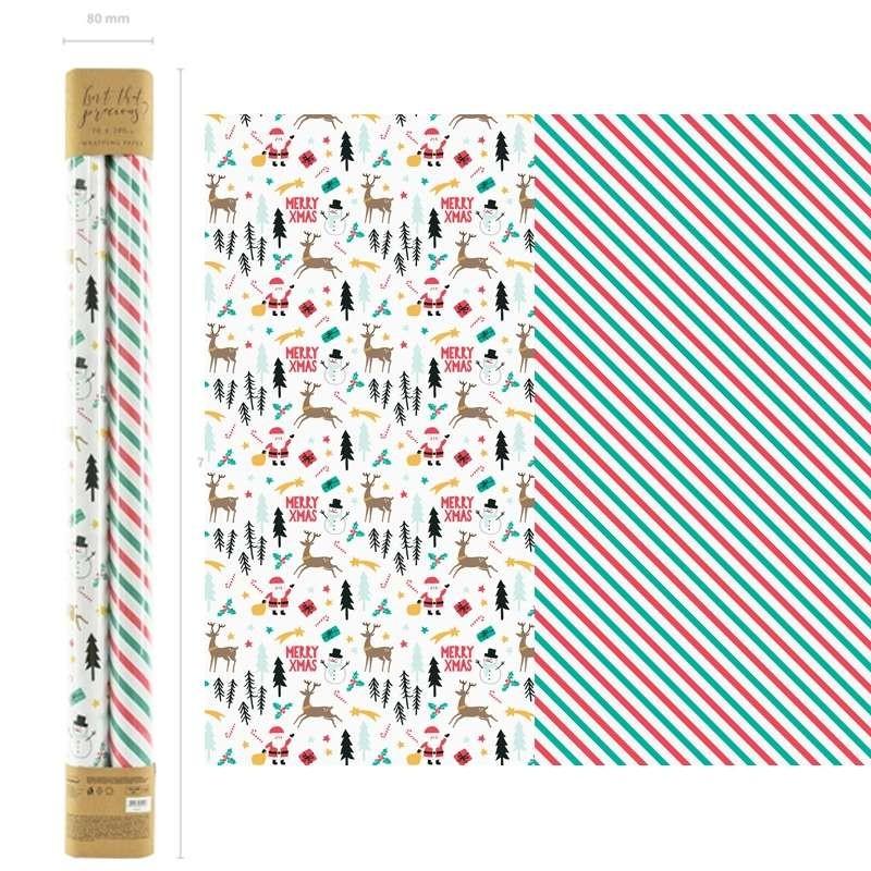 Merry Christmas Carta da regalo natalizia 6 rotoli 2 x 70 cm