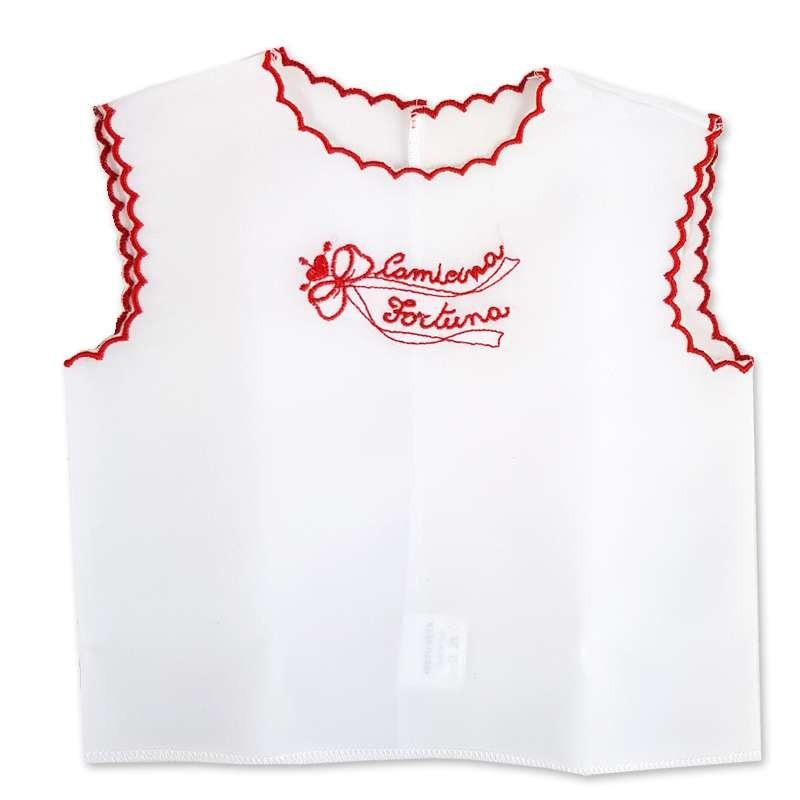 Camicina della fortuna di seta bianca con ricamo rosso