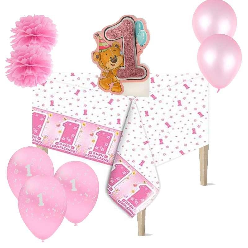 Allestimento Tavolo Primo Compleanno Bambina Con Orsetto Polistirolo