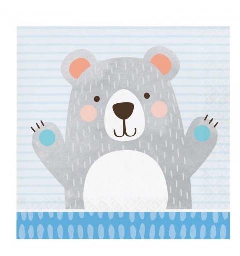 Tovaglioli orso grigio - 16 pz