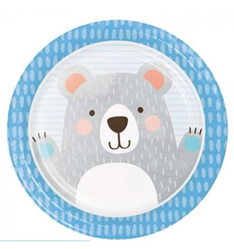 Piatti piccolo orso celeste tondi - 8 pz