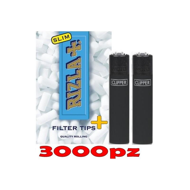 3000 FILTRI RIZLA SLIM SIGARETTE + 2 ACCENDINI CLIPPER