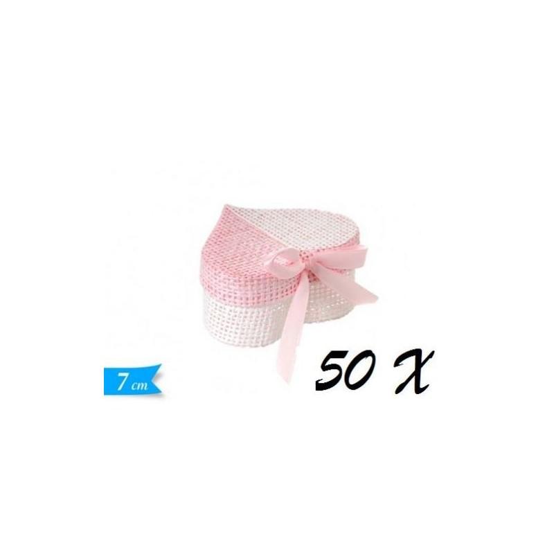 50 SCATOLINE A CUORE ROSA PORTACONFETTI