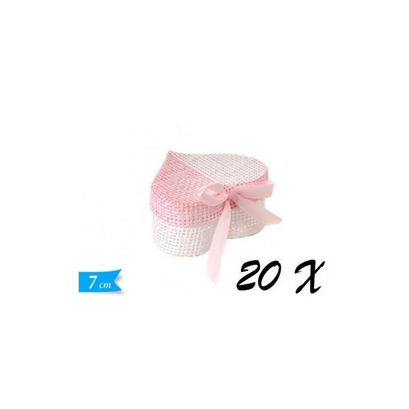 20 SCATOLINE A CUORE ROSA PORTACONFETTI 572234