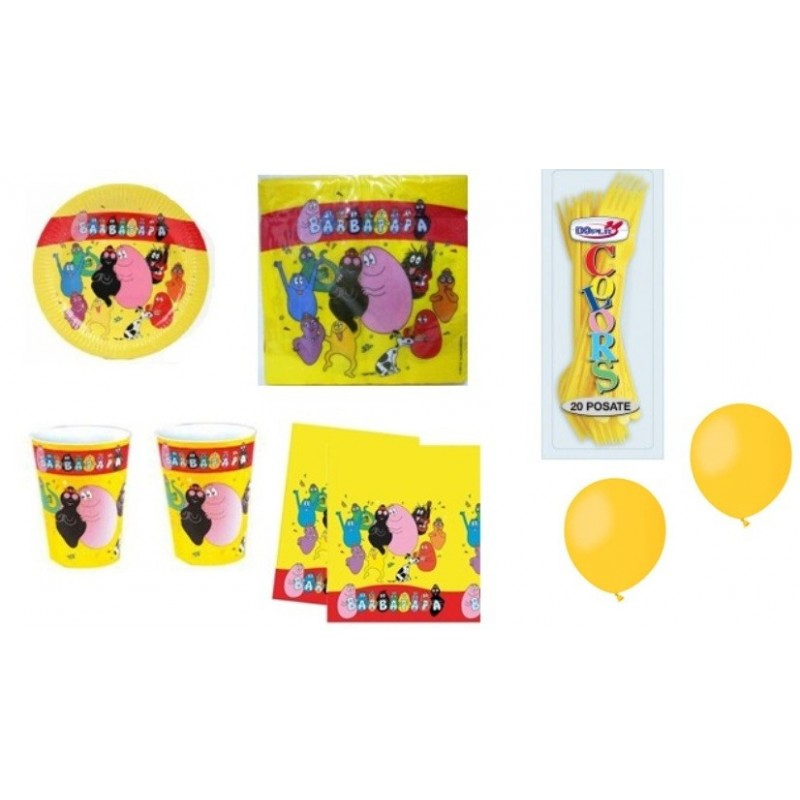 KIT 6 - 205 PZ. BARBAPAPA' + FORCHETTE E PALLONCINI GIALLI