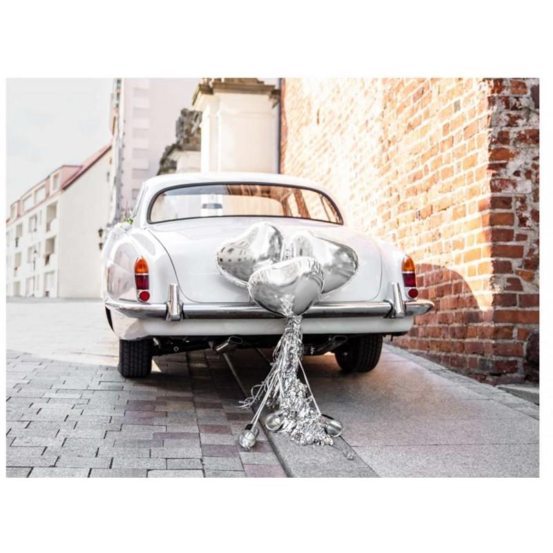 c0e49c1a8529 Addobbi macchina sposi argento con foil cuore