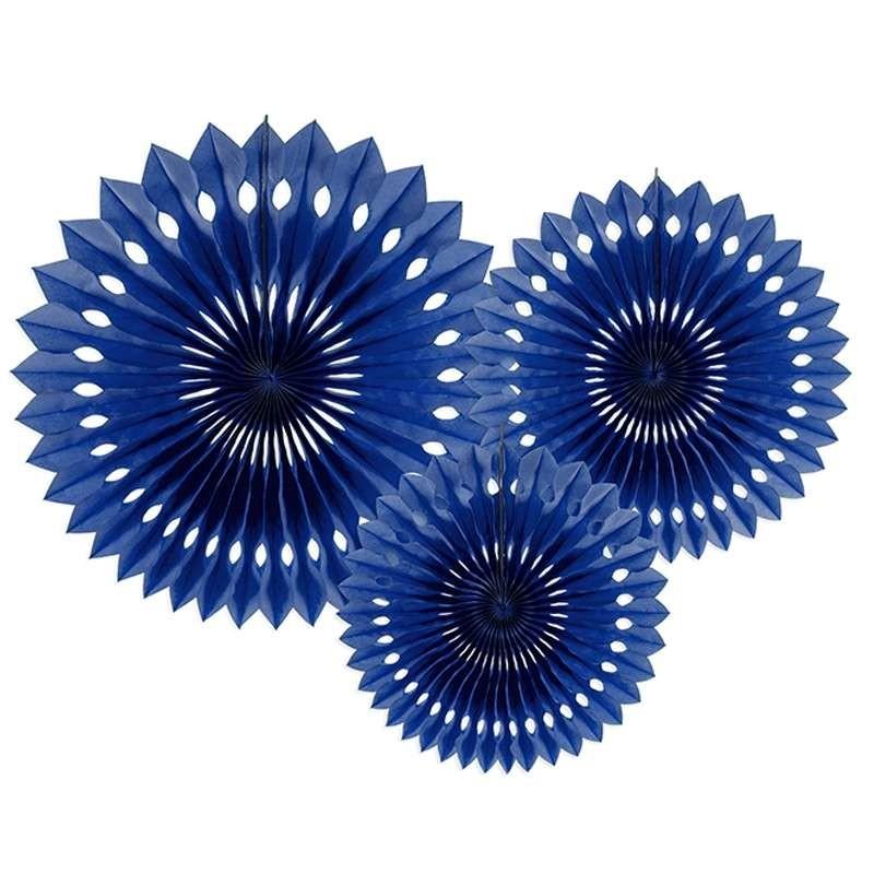Rosoni blu navy di carta - 3 pz