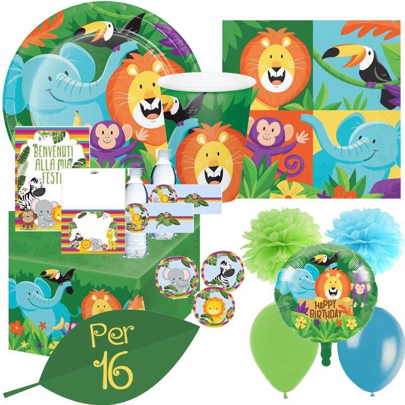 WERNNSAI Giungla Safari Tema Articoli per Feste Zoo Animali Festa Decorazioni /& Vasellame Kit per Bambini Compleanno Piatti da Dessert Bicchieri di Carta Tovaglioli da Pranzo per 16 Ospiti 153 PCS