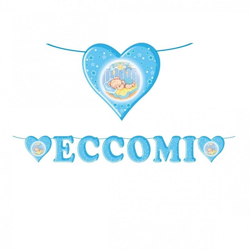 60626 FESTONE DECORATIVO PER FESTA NASCITA BAMBINO ECCOMI