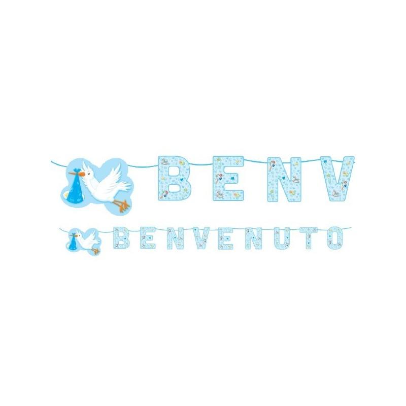 60871 FESTONE PER FESTA NASCITA BAMBINO SCRITTA BENVENUTO