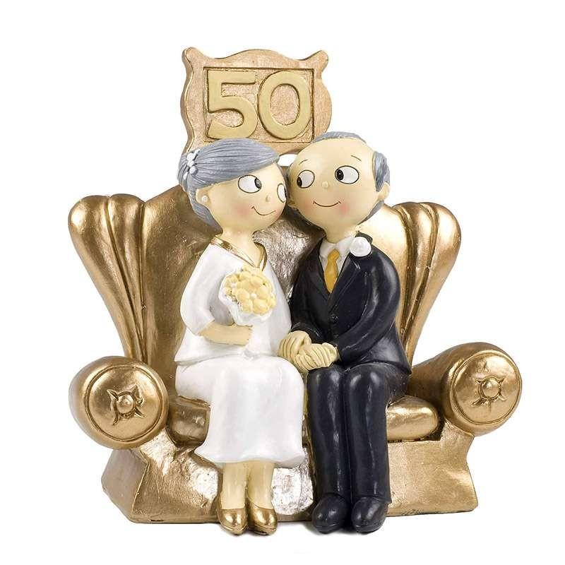 Cake Topper Sposi 50 Anni Di Matrimonio Seduti Sul Divano Dorato