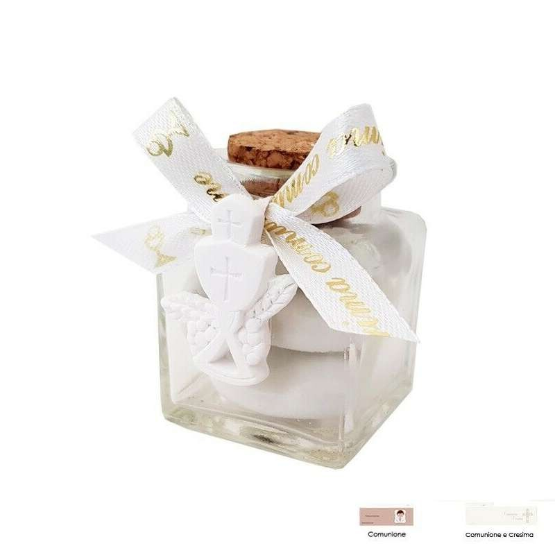 Gessetti calice con barattolini di vetro bomboniera - 12 pz