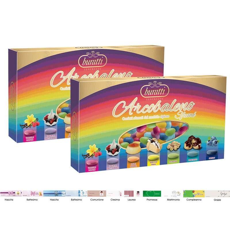Buratti 2kg di confetti arcobaleno