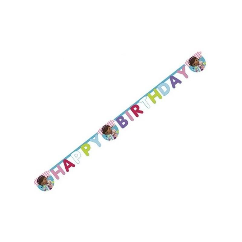 GHIRLANDA FESTONE HAPPY BIRTHDAY COMPLEANNO BAMBINA DOTTORESSA PELUCHE