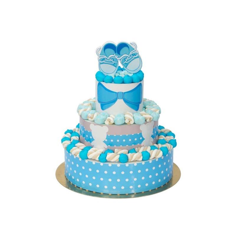 Torta di marshmallow scarpette azzurre