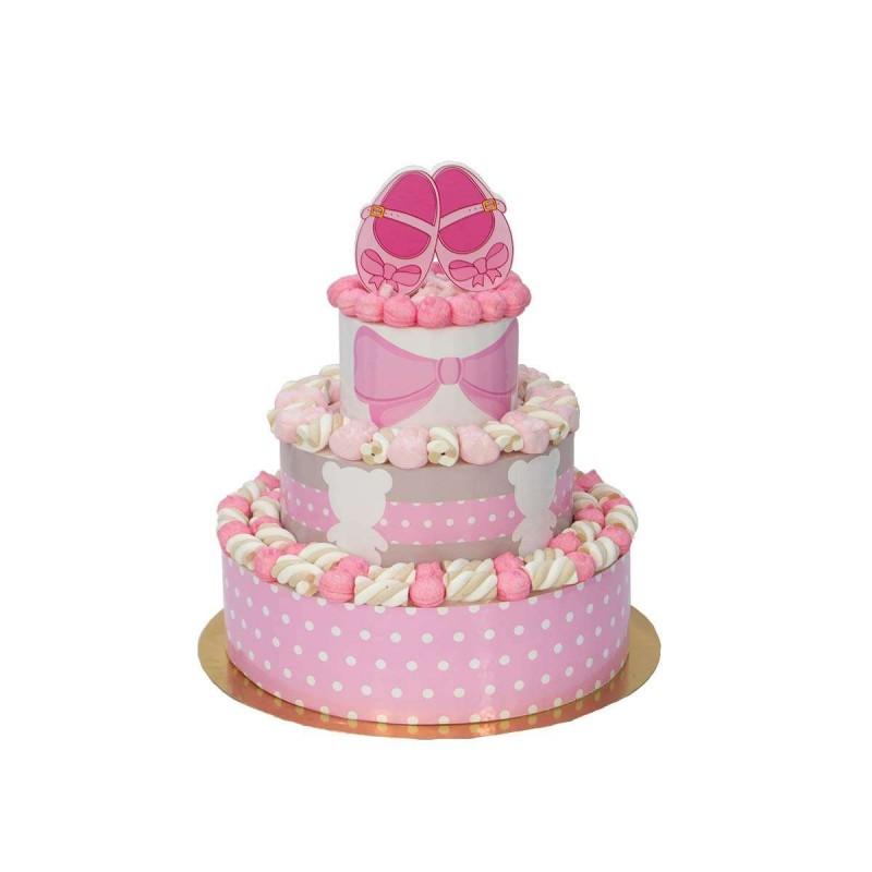 Torta marshmallow scarpette rosa nascita battesimo bambina