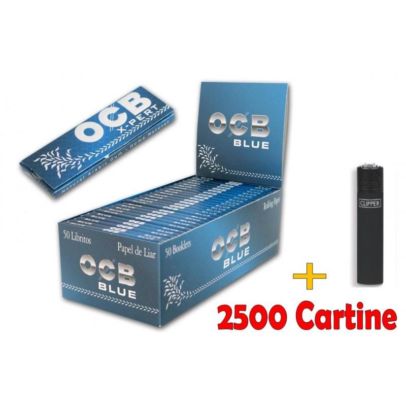 BOX DA 50 LIBRETTI CARTINE OCB X-PERT BLU COIRTE + ACCENDINO