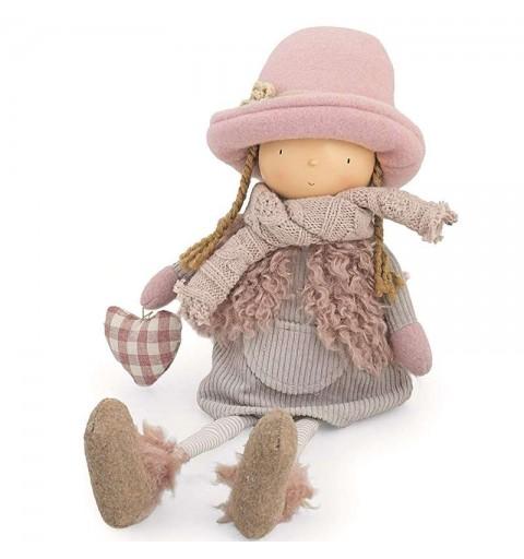 Bambola decorativa con cappellino e borsetta cuore