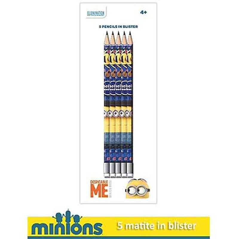 MATITE MINIONS CON GOMMINA - 5 PZ