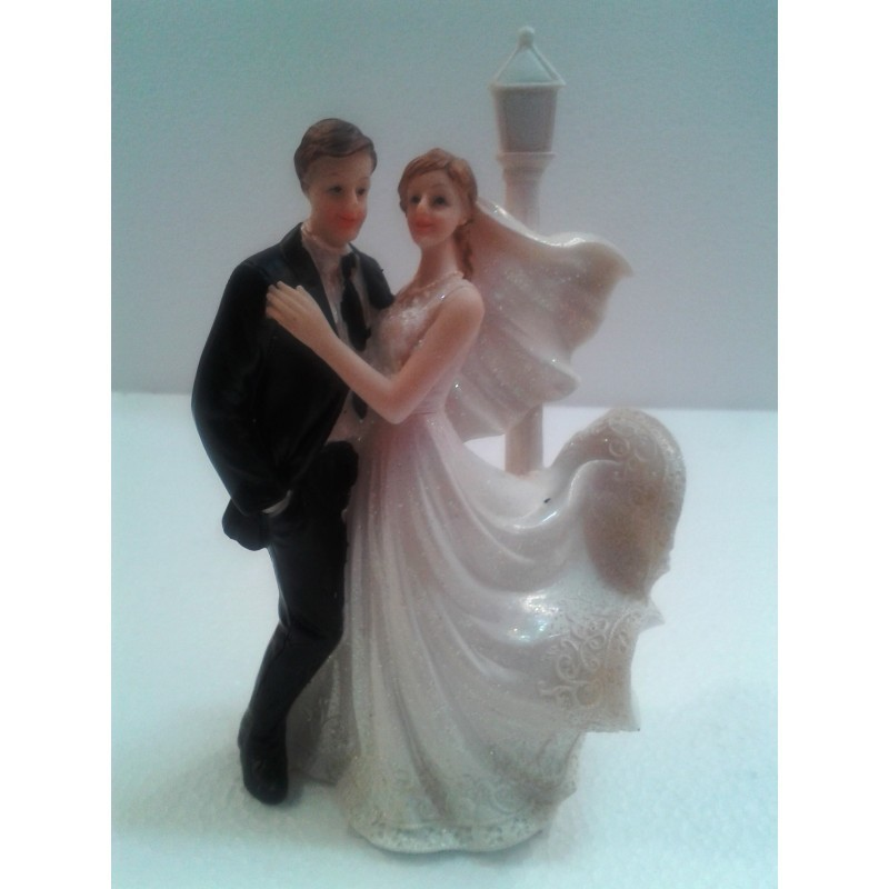 TOPPER PER TORTA NUZIALE SPOSI CON LAMPIONE  WEDDING MATRIMONIO