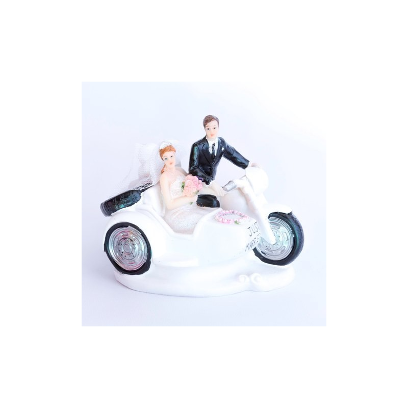 CAKE TOPPER SPOSINI IN MOTO JUST MARRIED PER TORTA MATRIMONIO