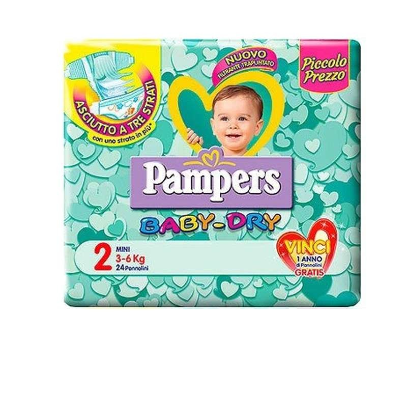 Pacco di pannolini Pampers baby dry  Un pacco di pannolini Pampers baby dry taglia 2 (3-6 kg)