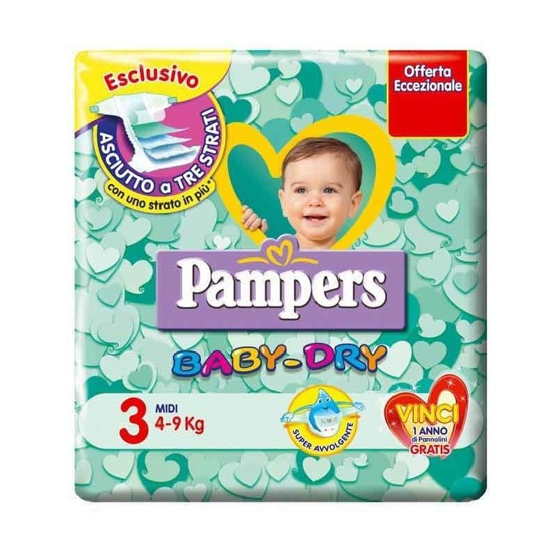 6 PACCHI PANNOLINI PAMPERS BABY DRY TAGLIA 3 126 PEZZI