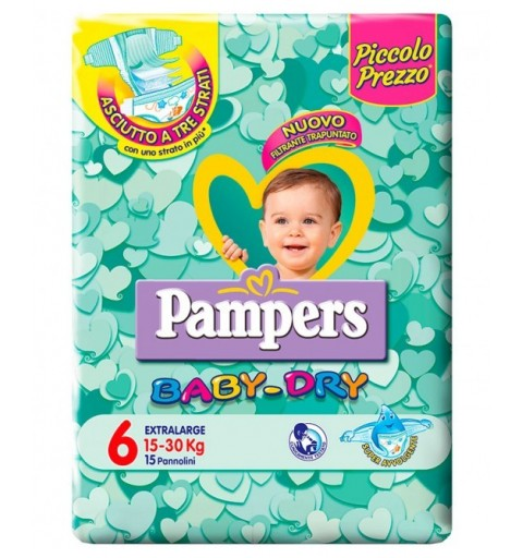 6 PACCHI PANNOLINI PAMPERS BABY DRY TAGLIA 5 114 PEZZI