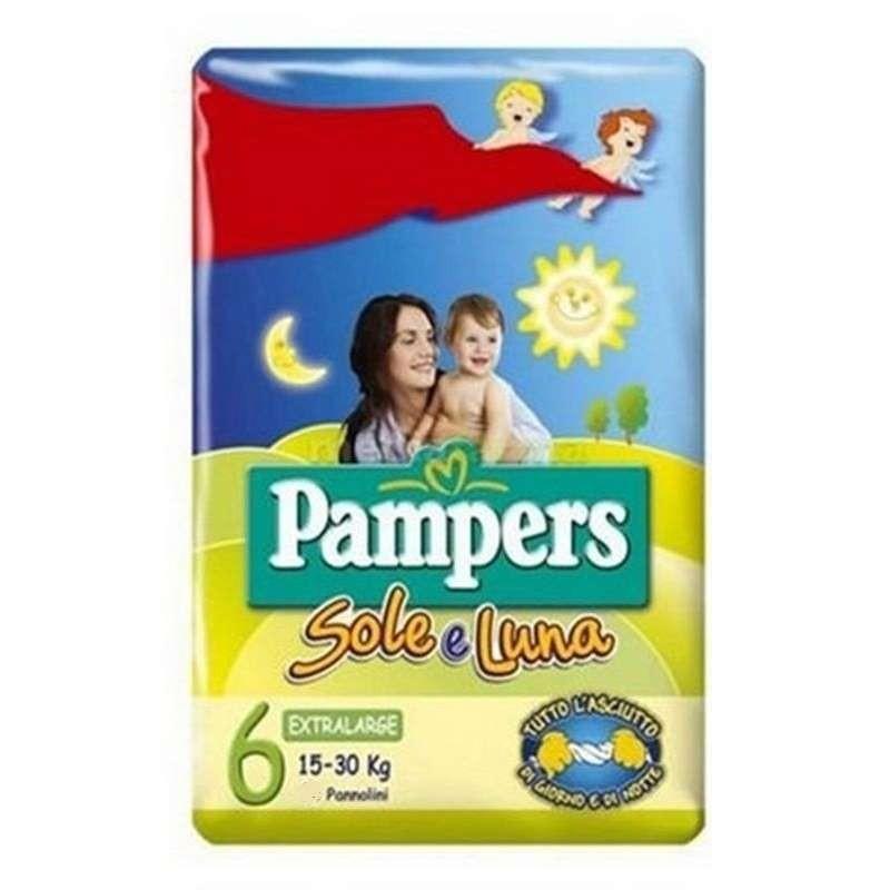 Pacco di pannolini Pampers sole e luna  Un pacco di pannolini Pampers sole e luna taglia 6 (15-30 kg)