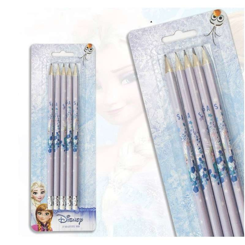 5 matite Frozen con gommina