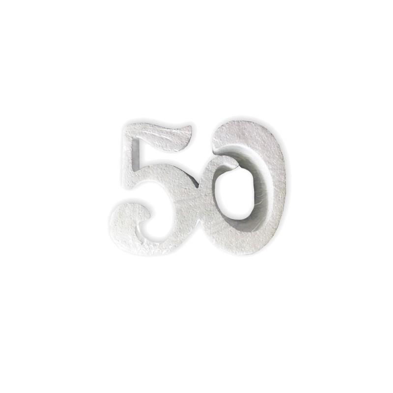 DECORAZIONE N 50 IN POLISTIROLO 2 PZ  ANNIVERSARIO COMPLEANNO