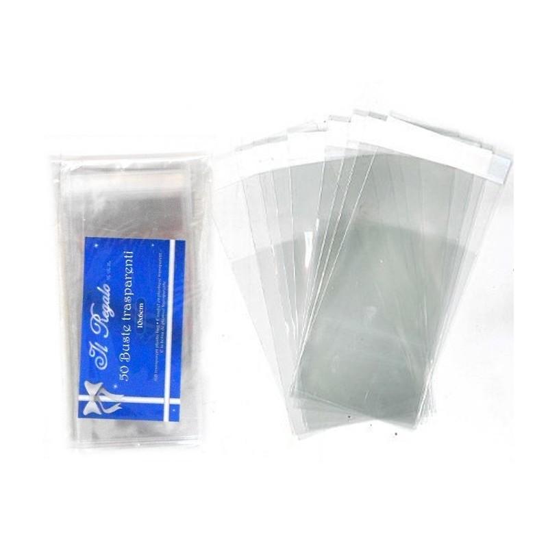 100 BUSTINE PLASTICA TRASPARENTE 15 X 25 CM CHIUSURA ADESIVA SUPERIORE