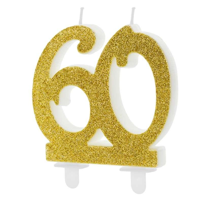 Candelina numero 60 gold glitter